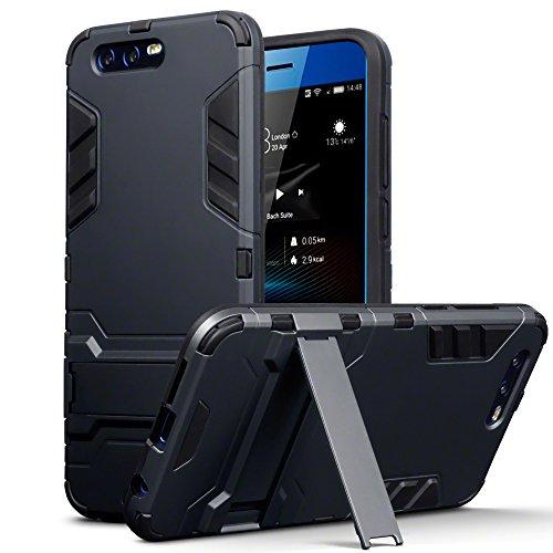 Terrapin, Kompatibel mit Huawei Honor 9 Hülle, Silikon + Polycarbonat Tasche mit Standfunktion - Schwarz EINWEG