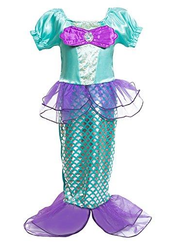 (FStory&Winyee Kinder Kostüm Meerjungfrau Cosplay Kleid Pailletten Kostüm Mädchen Prinzessin Kleid Lila Karneval Party Verkleidung Fasching Weihnachten Halloween Fest)