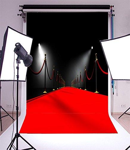 YongFoto 2,5x3m Vinyl Foto Hintergrund Hollywood Bühne beleuchtet rote Teppich Schwarz Wand Innere Show Fotografie Hintergrund für Fotoshooting Portraitfotos Party Kinder Hochzeit Fotostudio Requisiten