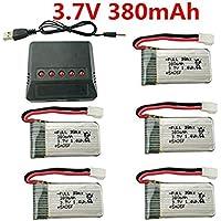 Fytoo 5PCS 3.7V 380mAh 25C Lipo batería y 5-in-1 cargador para Hubsan X4 H107,H107C,H107L RC Quadcopter,Syma X11 X11C,Holy Stone HS170 HS170C F180C