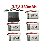 Fytoo 5PCS 3.7V 380mAh 25C Batterie au Lithium + 5en1 Chargeur pour EACHINE E016H E016F Hubsan X4 H107 H107C H107L Syma X11 X11C Holy Stone HS170 HS170C F180C HS170G TOZO Q2020