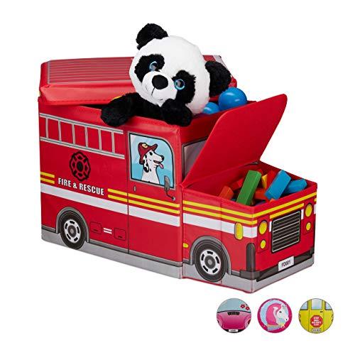 Relaxdays Sitzhocker Kinder, Spielzeugkiste mit Fach, faltbar, Feuerwehrauto, Stauraum, Jungen & Mädchen, 50 Liter, rot