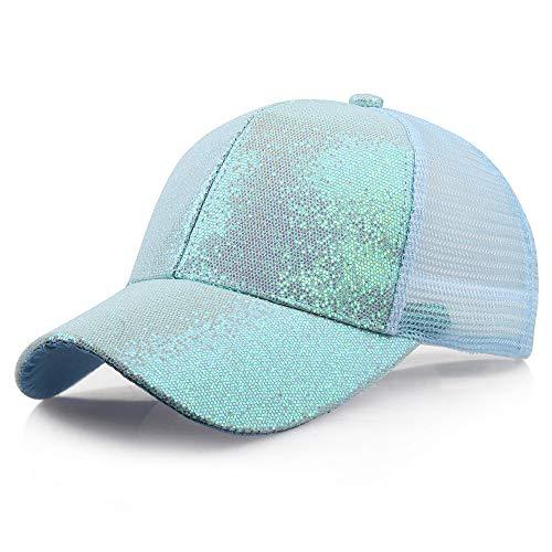 SANFASHION Damen Mädchen Mützen Baseball Cap Pferdeschwanz Baseballmütze Pailletten Unisex Baseballcap Reine Farbe Kappe (L, Blau)