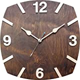 #7: BSQUARE 12 inches Handcrafted Wooden Wall Clock Dark Walnut BSWC050DW