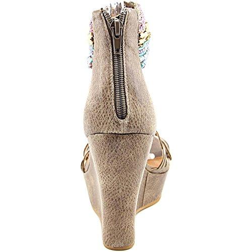 Taupe Não Stoff Keilabsätze Sandale Primavera Da Baile Classificado BqwOxq6If