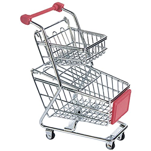Anbau Kids Children Pretend Play Mini Double Tier Shopping Entertainment Fun Cart Trolley Home Room Office Decor Toy Gift Red