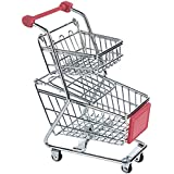 NF&E Kids Children Pretend Play Mini Double Tier Shopping Entertainment Fun Cart Trolley Home Room Office Decor Toy Gift Red