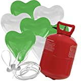 30 Herz Luftballons freie Farbwahl mit Helium Ballon Gas Hochzeit Valentinstag Komplettset (Grün/Weiß)