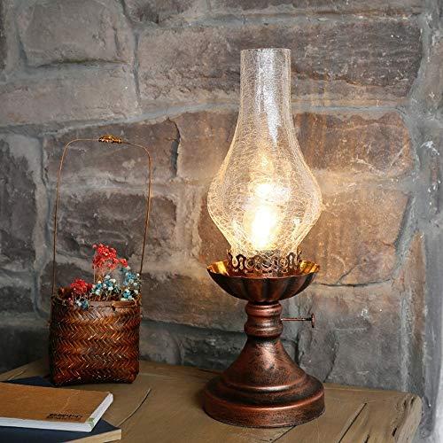 XHMK American Country Retro Loft Petroleumlampe Schlafzimmer Nachtlicht Nostalgic Brown Schmiedeeisen Schreibtisch Leselampe Old Fashioned Cafe Restaurant Wein Kiln Desktop-Dekor-Beleuchtung E27