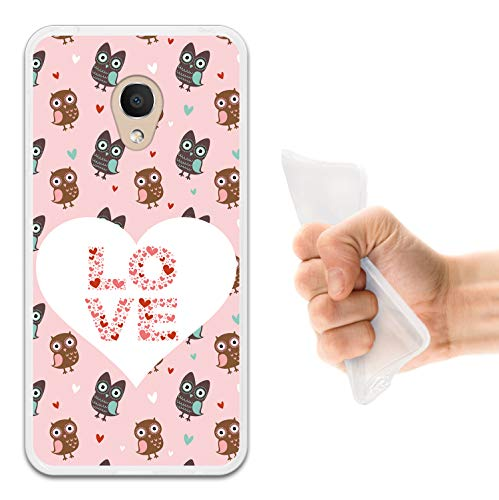 WoowCase Alcatel 1C DUAL SIM Hülle, Handyhülle Silikon für [ Alcatel 1C DUAL SIM ] Eulen Liebe Herz Handytasche Handy Cover Case Schutzhülle Flexible TPU - Transparent