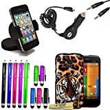 Accessory Master-Mega Value Pack of 6-in - 1 Brown Leopard Cover with Screen Protector Stylus Pen-Assorted Colours (Pack of 10) Car Charger Adapter Car Cigarette Lighter Socket Mount For Motorola Moto G
