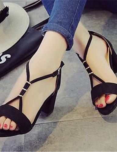 WSS 2016 Chaussures Femme-Décontracté-Noir / Gris-Gros Talon-Talons-Chaussures à Talons-Polyuréthane black-us6.5-7 / eu37 / uk4.5-5 / cn37