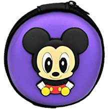 Original Style Purple PVC Material With Mickey Mouse CartoonDurable Carry Case Storage Headphone Earphone Pouch Holder and Organizer Also for Pen Drives Memory Cards and Other Small utilities