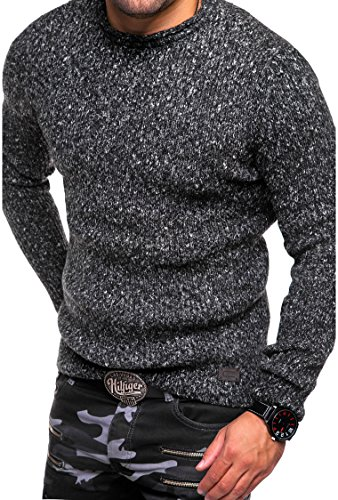 MT Styles Strickpullover Rundhals Pullover E-830 Schwarz
