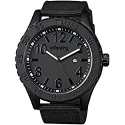 INFANTRY® Mens Analogue Quartz Wrist Watch Date Luminous Black Dial and Black Textile Strap