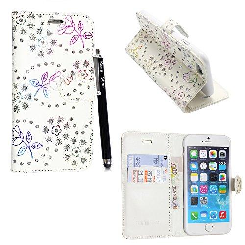 Kamal Star Flipcase/Schutzhülle mit Standfunktion, PU-Leder, für iPhone SE/5/5S, inkl. Eingabestift und Displayschutzfolie ROSE ON WHITE DIAMOND