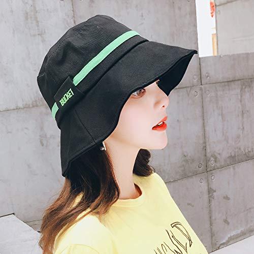 hat-maihef Sonnenhut weiblichen Sommer Reise am Meer Strand koreanische Version der Wilden Mode großen HutSonnencreme UV-Visier schwarz M (56-58cm) -