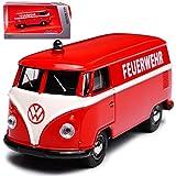 alles-meine GmbH VW Volkswagen T1 Feuerwehr Rot Samba Bully Bus Transporter 1950-1967 1/64 Schuco Modell Auto
