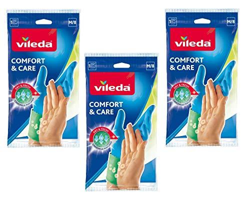 Vileda Comfort & Care Gummihandschuhe mit Kamille Lotion - 3er Vorratspack (3 x 1 Paar) -
