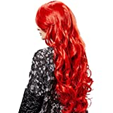 Phenovo Fashion Synthetic Women Long Wave Full Head Curly Wig Red 70cm