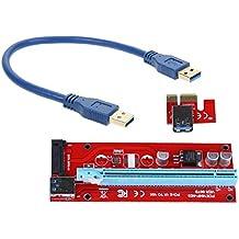 Amazingdeal365 USB 3.0 PCI-E Express Adaptador de tarjeta Riser de extensión 1x a 16x Cable de alimentación SATA 15PIN