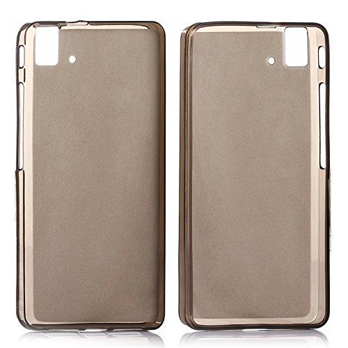 tinxi® Funda de silicona para BQ Aquaris E5/E5 HD/E5 FHD 5.0 pulgadas Caso de silicona TPU caso de la cubierta de la contraportada de silicona protectora caso bolsa transparente y negro fondo