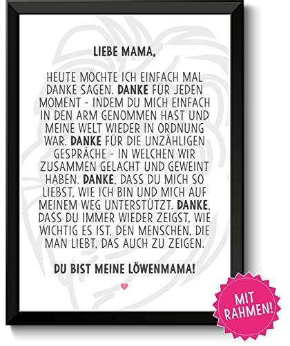 Löwenmama Bild im schwarzem Holz-Rahmen Geschenk Geschenkidee Danke sagen Dankeschön Mama Mutter