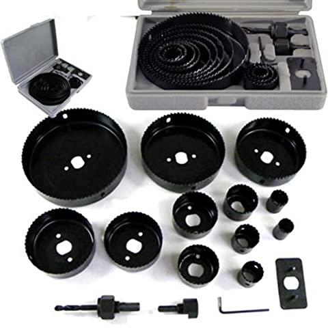 NEW 16PC HOLESAW SET CUTTING KIT 19-127MM WOOD METAL ALLOYS HEAVY DUTY IN CASE