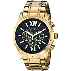Guess U0193G1–Reloj de Pulsera de Hombre, Correa de Acero Inoxidable Color Dorado