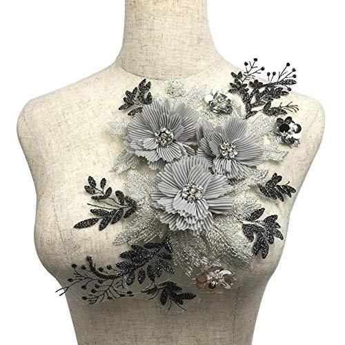 cosyhouse Perlen 3D Braut Spitze Applique Stickerei Applique 3D Perlen Blumen Tüll für DIY Dekoriert Handwerk Nähen Kostüm Abend Braut