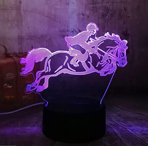 Equitación Equitación 7 Cambio De Color 3D Visual Led Night Light Niños Touch Usb Lámpara De Mesa Bebé Durmiendo Decoración Regalos Deportivos (Decoracion De Mesa De Halloween)