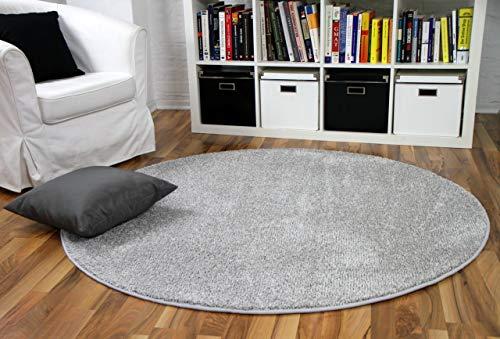 Snapstyle Hochflor Velours Teppich Mona Silbergrau Rund in 7 Größen
