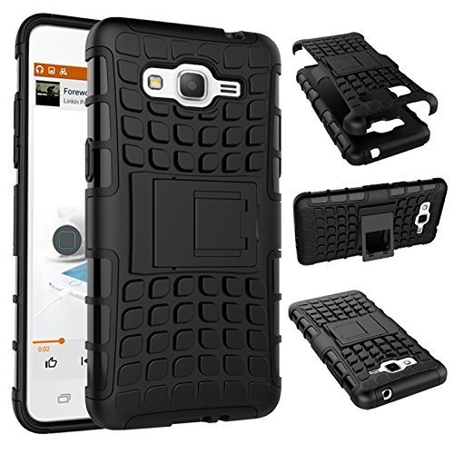 Original Mokons Premium Hybird Military Grade Armor Kickstand Back Case Cover For Samsung Galaxy Grand Prime(G350) - Black  available at amazon for Rs.249
