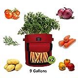 Laxllent Sacs de Plantation de Jardin,2PCS 9 Gallons Sac de Legumes, Tissu...