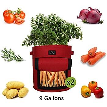 Gallons Grow Bag Garten /Übertopf Vliesstoff Pflanzsack mit Griffe f/ür Kartoffeln Kartoffel pflanzbeutel Dasongff Pflanze Wachsende Tasche 30x30x35cm Pflanztasche Tomaten und Erdbeeren