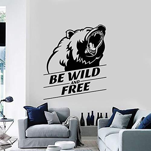 Vinyl Wandtattoos wild und frei Grizzly Kopf Tier Aufkleber Wandbilder Wohnkultur Wohnzimmer Wand Mode Abziehbilder