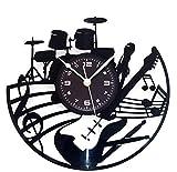 Instant Karma Disque Horloge murale en vinyle lP 33tours?Guitare Batterie Faible musicien Instruments de musique