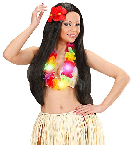 shoperama Blinkende LED Hawaii Blumen-Kette Lei Flashlight Beach-Party Festival Hippie Hals-Schmuck Kostüm-Zubehör Dekoration