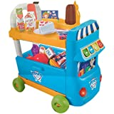 IndusBay Big Size Mutli Functional Shopping Cart Toy A Movable Shopping Market Bus, 43 Pcs Shopping Van With Working Scanner, Pretend Play Food Articles Light & Music