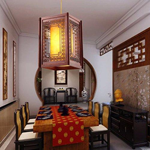 ZHGI Lampada cinesi in legno intagliato lampadario ristorante antica pergamena lampada