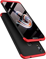 TheGiftKart Full Body 3-In-1 Slim Fit Complete 3D 360 Degree Protection Hybrid Hard Bumper Back Case Cover For Vivo V9 / V9 Youth (Black & Red)