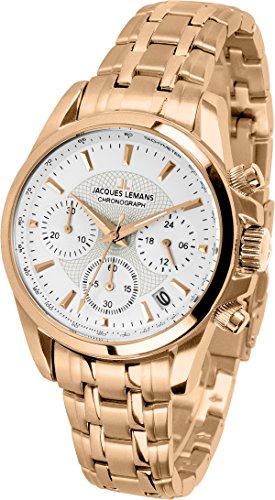 Jacques Lemans Damen-Armbanduhr Liverpool Analog Quarz Edelstahl beschichtet 1-1752M