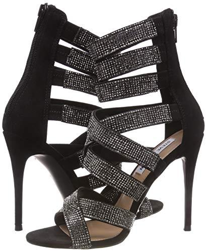 Steve Madden Damen Malika Sandal Riemchensandalen, Schwarz (Black Multi 010), 38 EU Black Multi Suede Schuhe