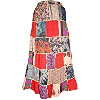 Mogul Interior Womens Multi-red Dori Festive Maxi-Skirt Elastic Waist Large