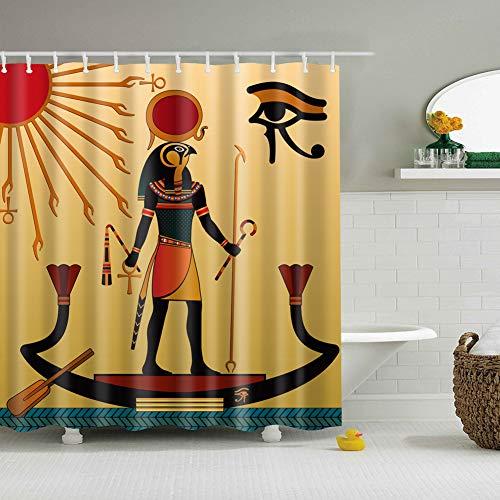 ZHWL6688 Gelber Hintergrund-Hieroglyphe Sun 1 schwarzer Eagle Head Man Standing auf dem Boot, das eine Stange Mehltau- und feuchtigkeitsbeständiger wasserdichter Badvorhang 180x180cm hält (Vorhänge Für Ein Boot)