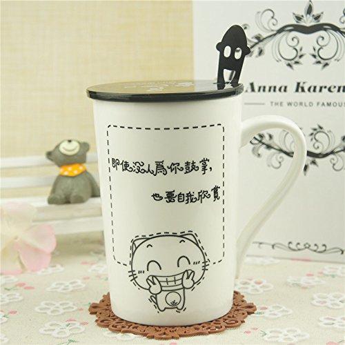 Mugcap Europäischen minimalistischen Keramik Dose mit Deckel Löffel Tasse kreative Kaffeetasse Jungen Cup Paare Schale, beobachten die Katze Tür Cat Spoon Rest (Cat-löffel Rest)