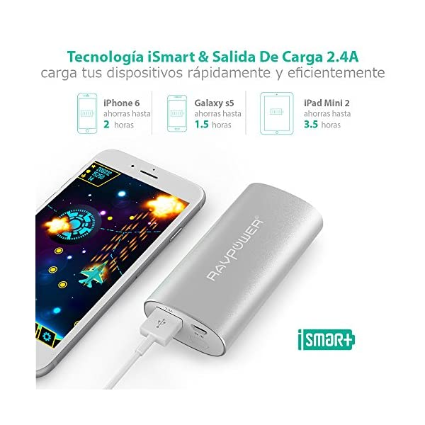 RAVPOWER Power Bank 6700mAh, Cargador portátil iSmart 2.4A de Salida & 2A de Entrada para iPhone 7, iPad, iPod, Tablet…