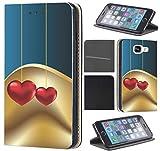 Samsung Galaxy S3/S3 Neo Hülle von CoverHeld Premium Flipcover Hülle Samsung S3/S3 Neo aus Kunstleder Flip Case Motiv (712 Abstract Herz Herzen Blau Gold Rot)