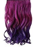 Perruque WIGSTYLE 16 pouces clip en dégradé violet Wavy Hair Extensions synthétiques avec 5 Clips