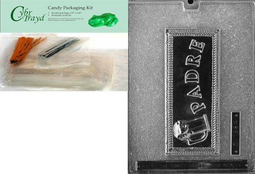 Cybrtrayd Padre Grußkarte im spanischen Schokolade Form mit Verpackung Paket von 50Cello Taschen, 25gold und 25silber Twist Krawatten und Schokolade Formen Anweisungen (Gold-verpackung Im Schokolade)